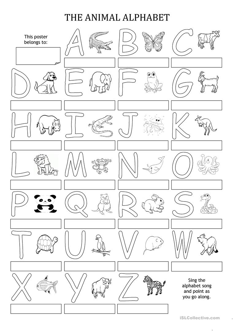 picture about Alphabet Printable Worksheets known as THE ANIMAL ALPHABET - Poster - English ESL Worksheets