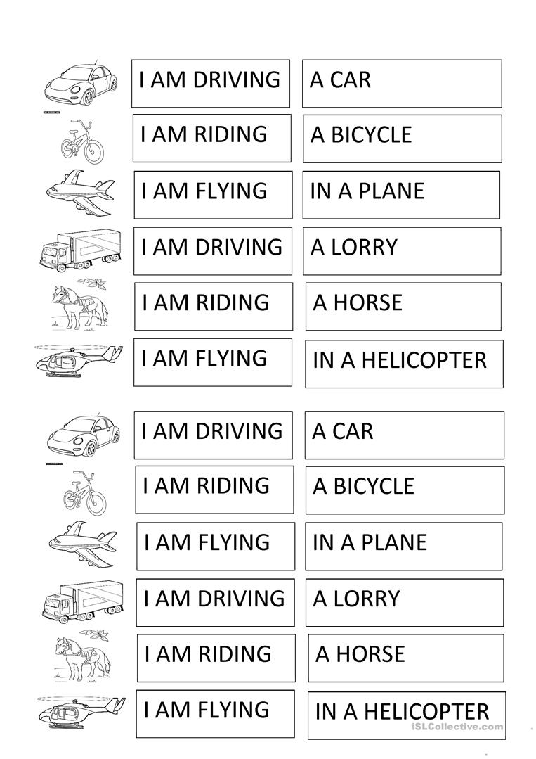 transport and verbs activity for children - English ESL ...