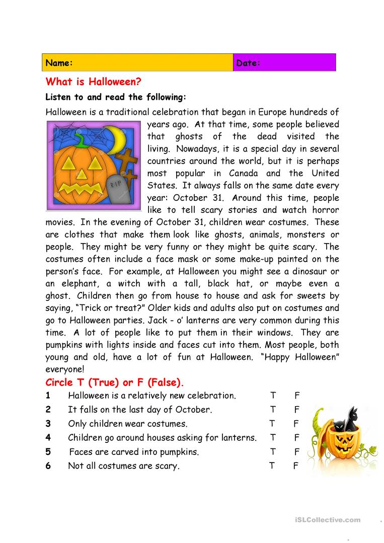 What is Halloween? - English ESL Worksheets