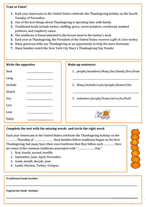 Thanksgiving Traditions - English ESL Worksheets For Distance Learning And  Physical Classrooms