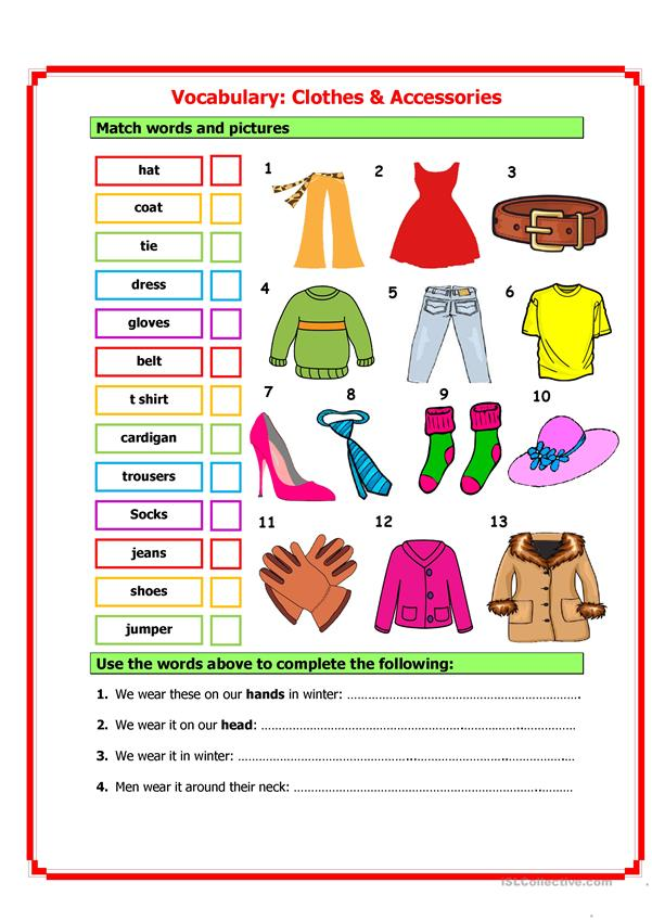 Clothes Accessories: Vocabulary: Clothes & Accessories