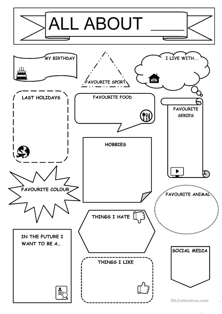photo relating to All About Me Printable Worksheet known as all regarding me - English ESL Worksheets