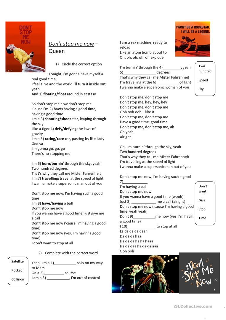 Don't Stop me now   Queen   English ESL Worksheets for distance ...
