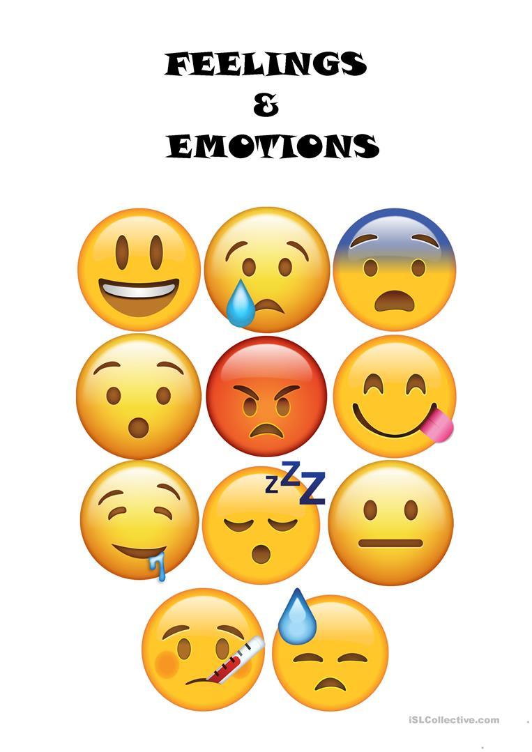 picture relating to Emoji Feelings Printable named Inner thoughts Thoughts (with emojis) - English ESL Worksheets