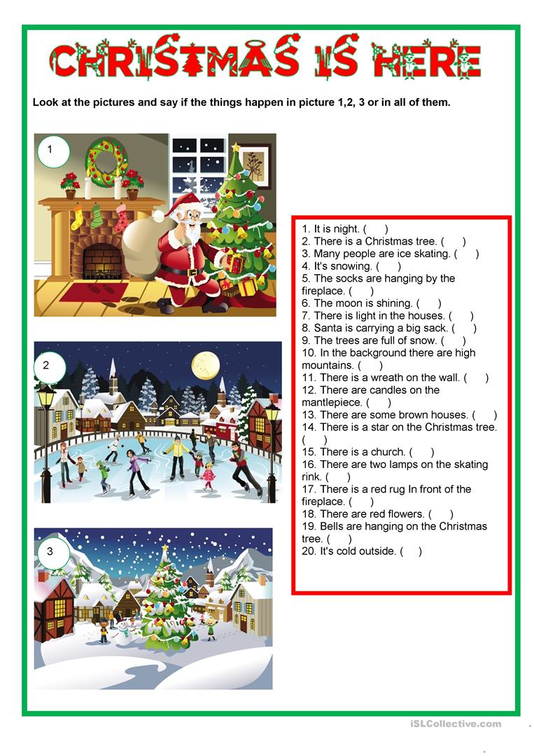 Christmas Is Here.Picture Description Christmas Is Here English Esl Worksheets