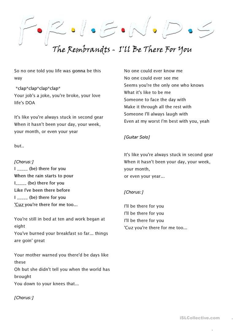 The Rembrandts - I'll Be There For You worksheet - Free ESL ...