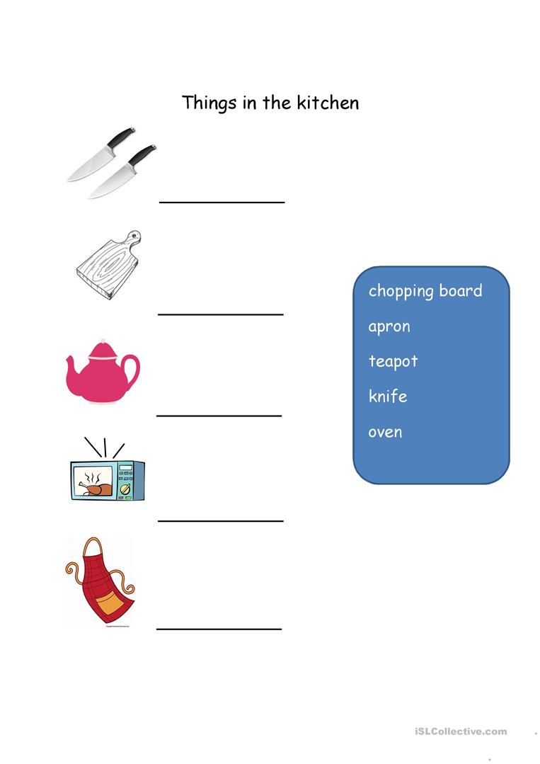Things In The Kitchen English Esl Worksheets
