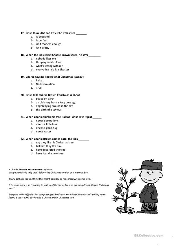 When Is Charlie Brown Christmas On.A Charlie Brown Christmas English Esl Worksheets