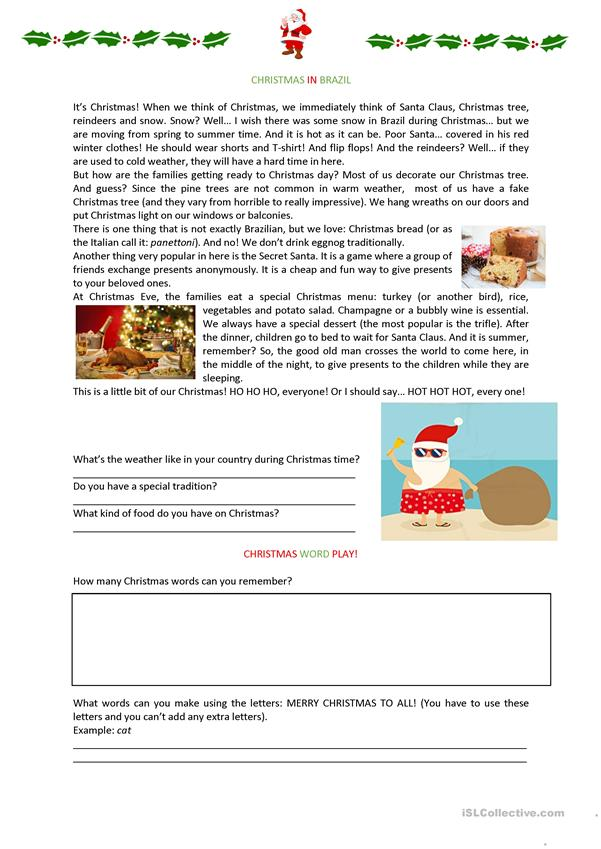 Christmas in Brazil Worksheet