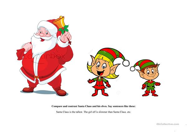 Compare and contrast Santa Claus and his elves
