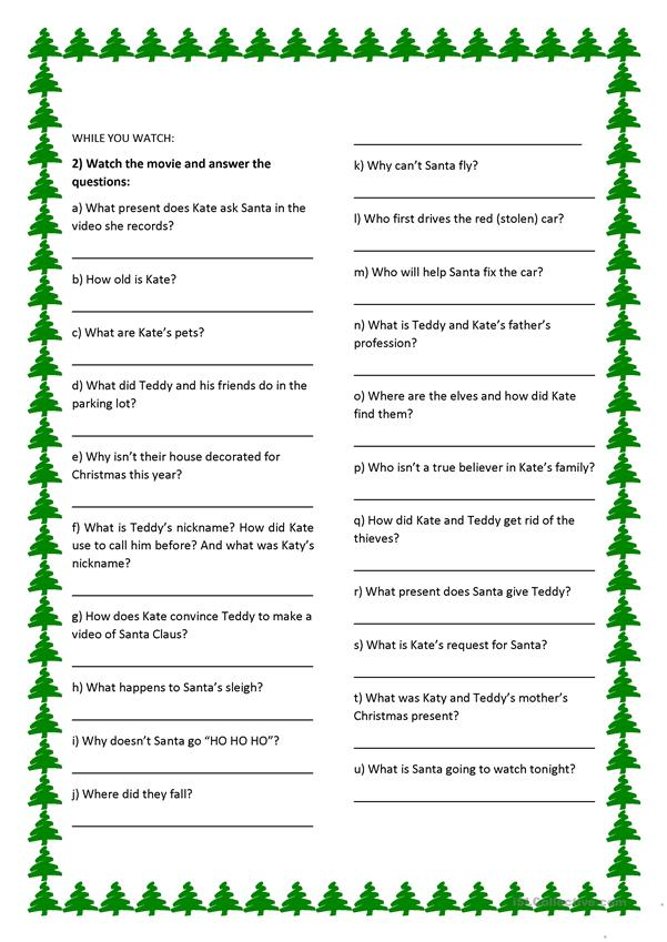 Christmas Questions To Ask.The Christmas Chronicles Movie Activity English Esl