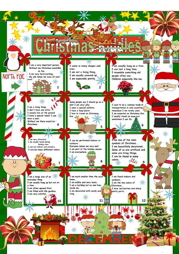 christmas riddles key english esl worksheets for. Black Bedroom Furniture Sets. Home Design Ideas