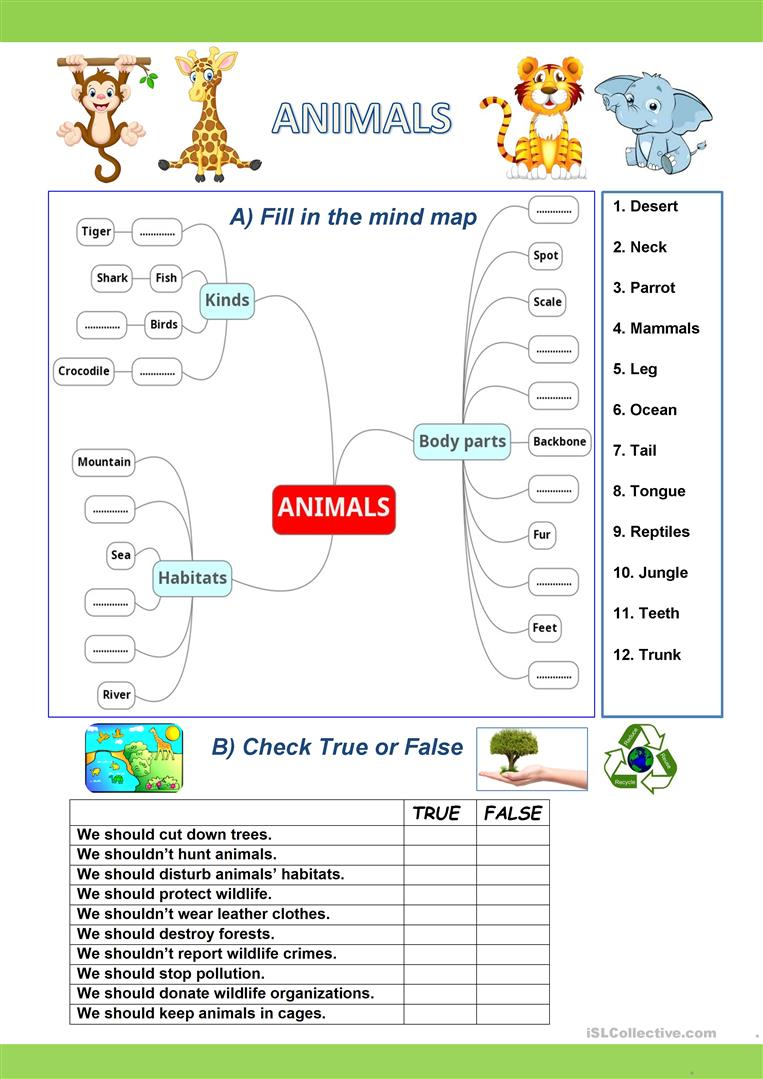 activities about wild animals english esl worksheets. Black Bedroom Furniture Sets. Home Design Ideas