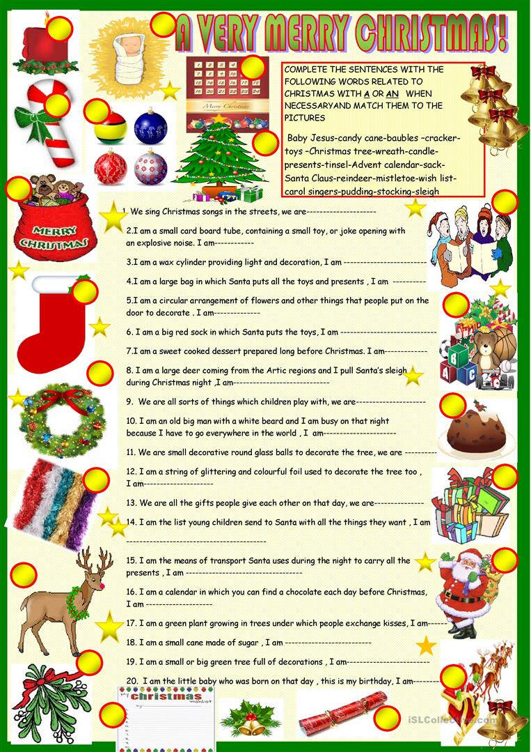 Christmas Riddles.Christmas Riddles With Key English Esl Worksheets