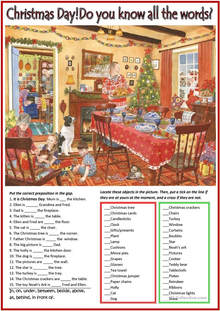 Christmas Day Vocab Check With Nostalgic Picture English Esl Worksheets For Distance Learning And Physical Classrooms