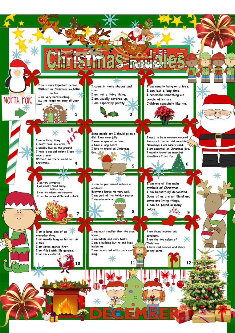 image about Christmas Riddles Printable known as Xmas Riddles + Secret - English ESL Worksheets