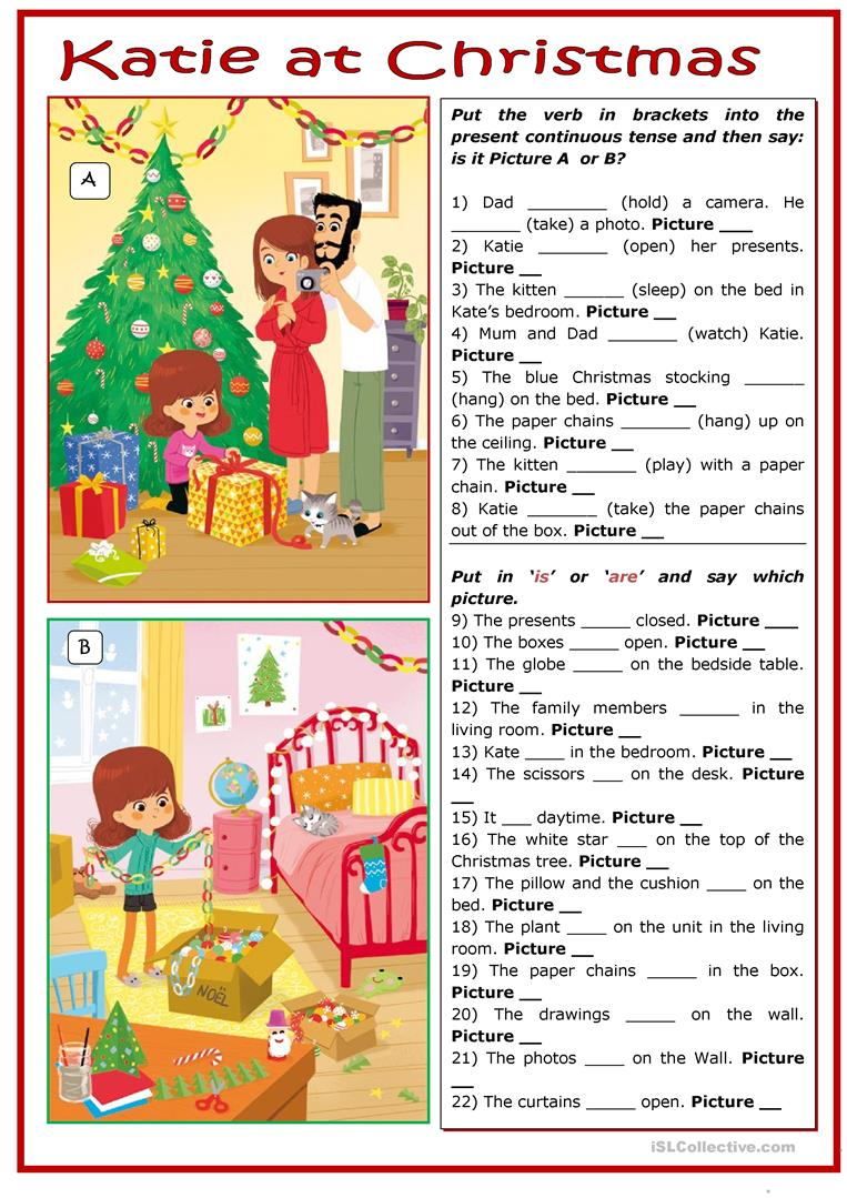 christmas which picture is it worksheet free esl. Black Bedroom Furniture Sets. Home Design Ideas