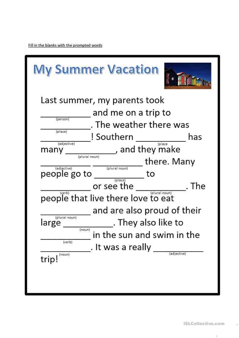 My summer holiday - fill in the blanks - English ESL Worksheets