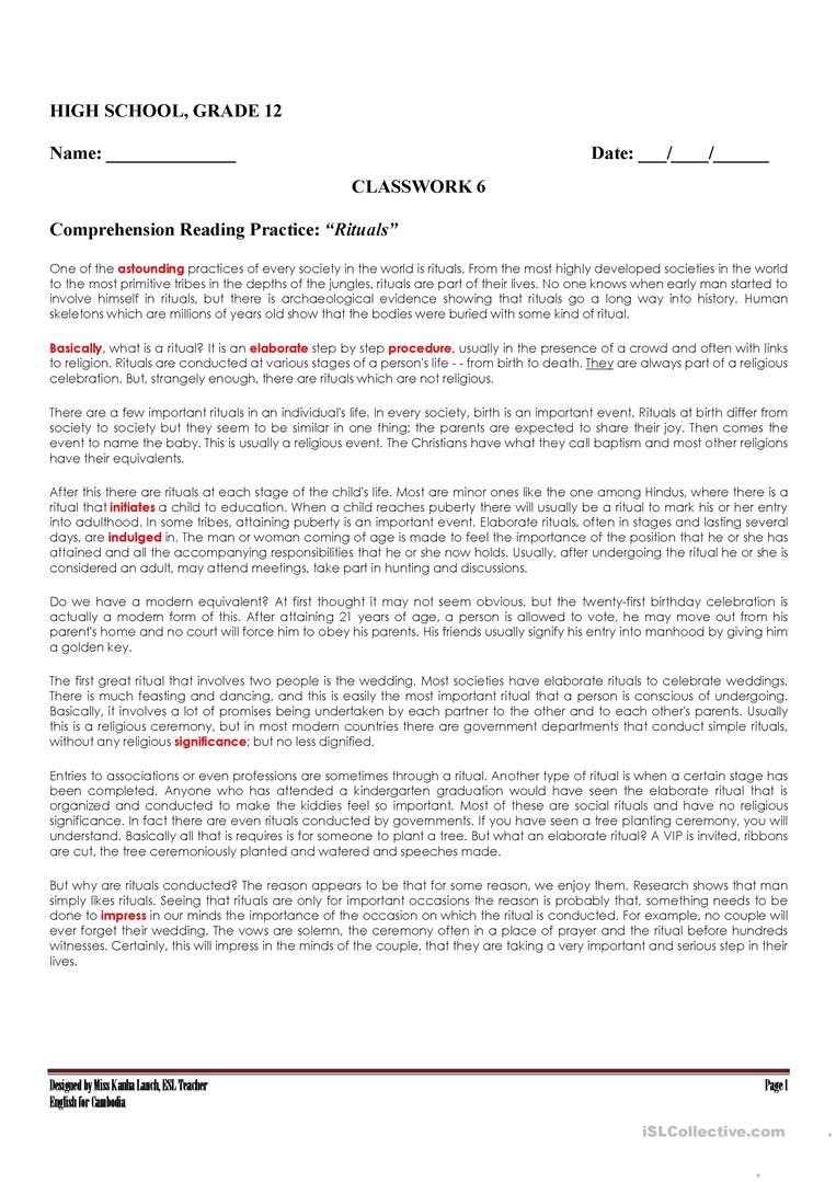 - Reading Comprehension About Rituals By Kanha Lauch - English ESL