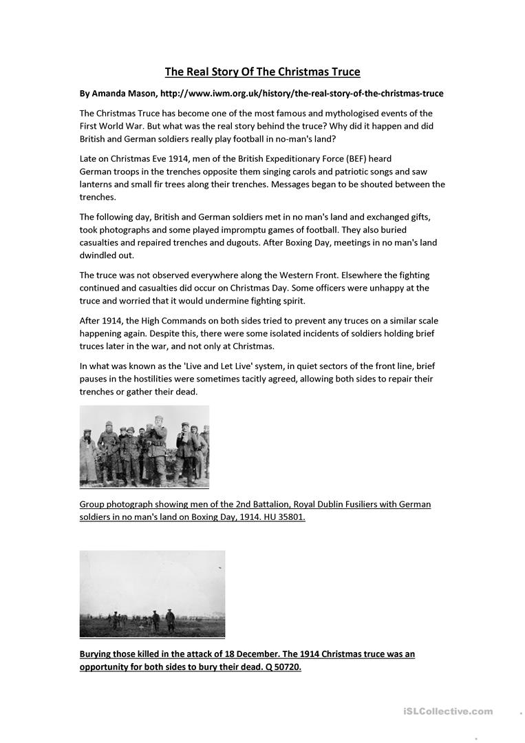 Christmas History In English.The Real Story Of The Christmas Truce English Esl Worksheets