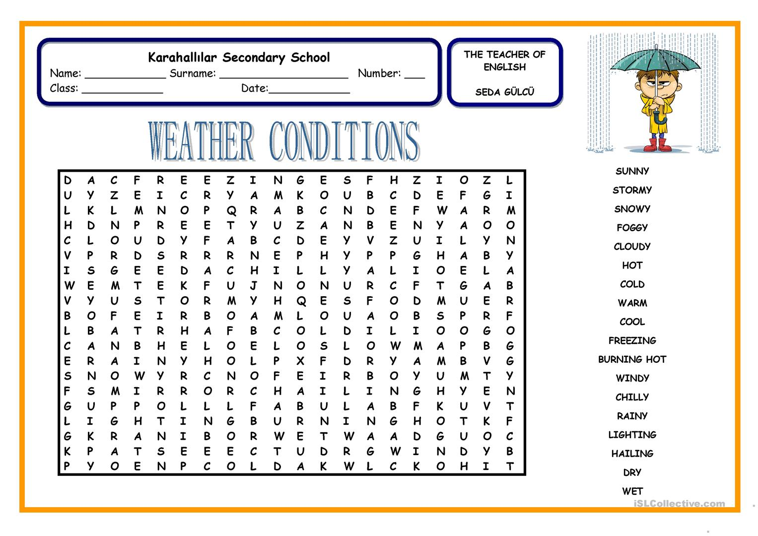 weather conditions english esl worksheets. Black Bedroom Furniture Sets. Home Design Ideas
