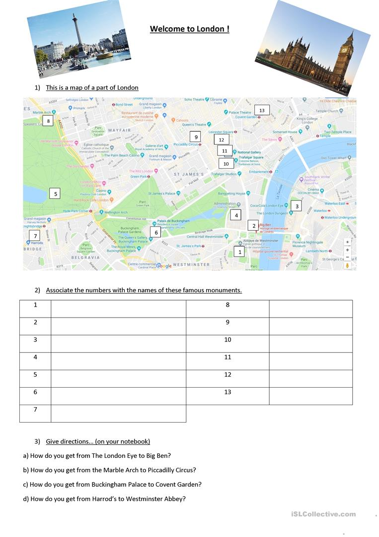 London Map Directions.Welcome To London English Esl Worksheets