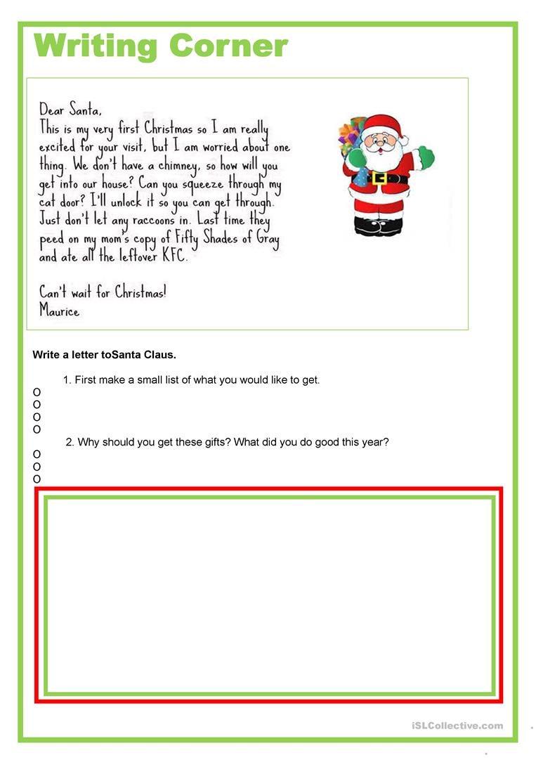 Writing Corner Letter To Santa Worksheet Free Esl Printable