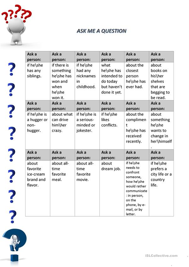 Ask me a question activity (teaching students how to build a question)