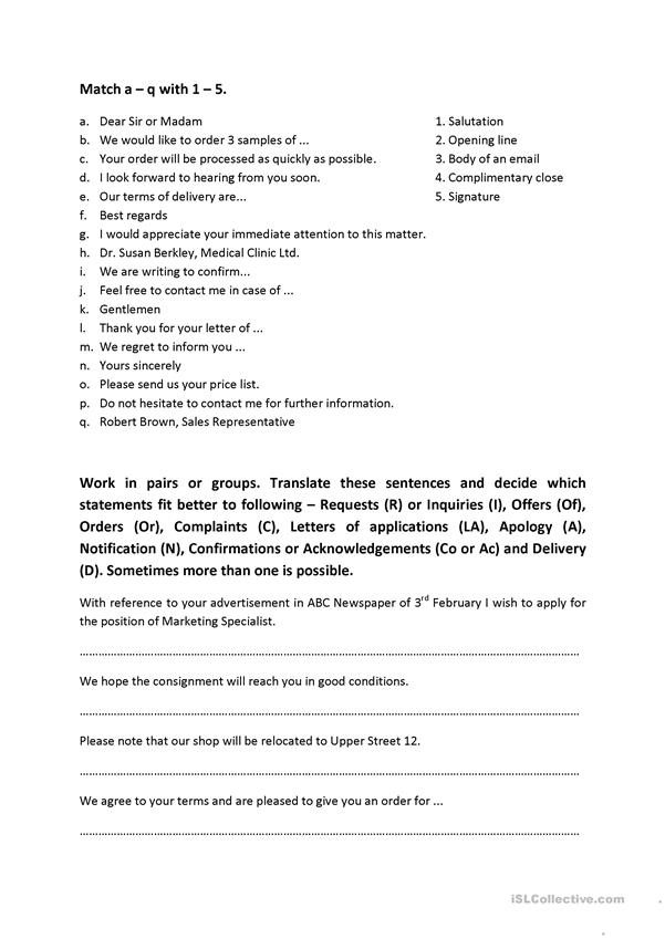 Commercial Correspondence For Business English (writing Business Emails) -  English ESL Worksheets For Distance Learning And Physical Classrooms
