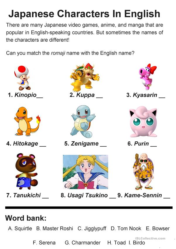 Japanese Characters In English