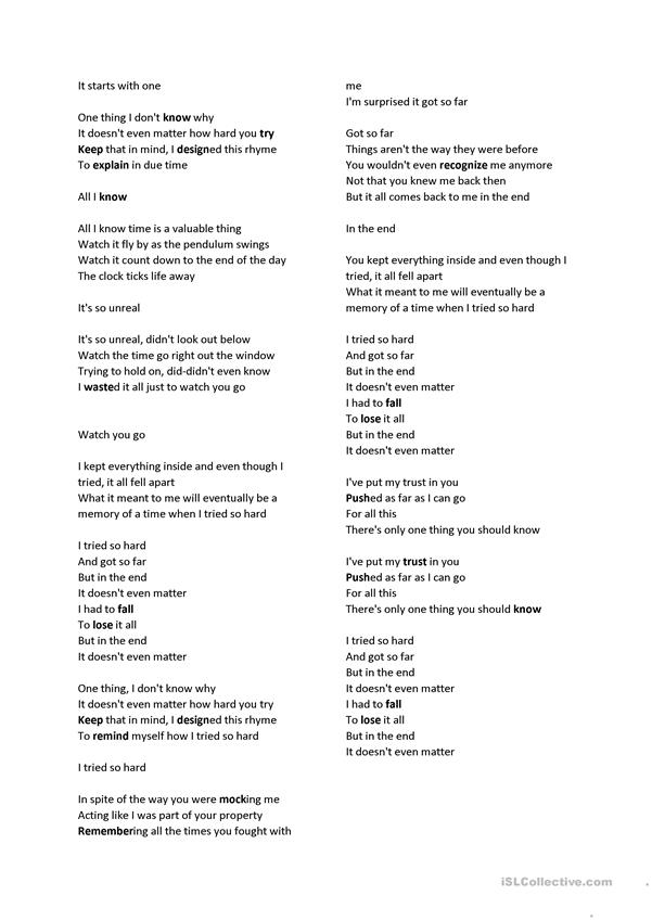 Linkin park In the end vocabulary - English ESL Worksheets