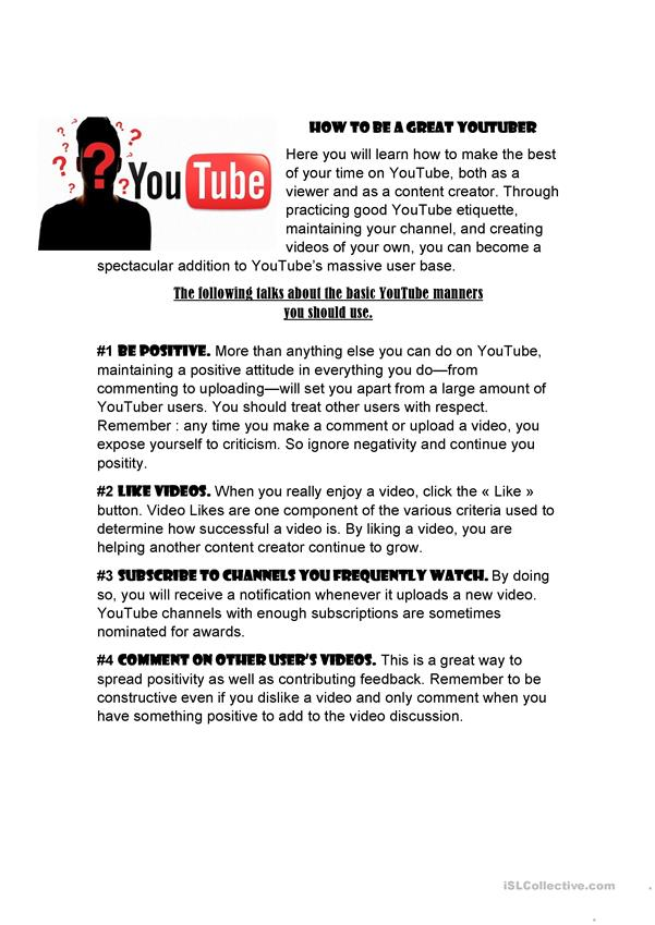 HOW TO BE A GREAT YOUTUBER - English ESL Worksheets