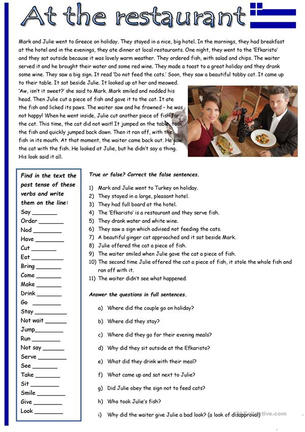 Past Simple Tense Practice: At The Restaurant. - English ESL Worksheets For  Distance Learning And Physical Classrooms