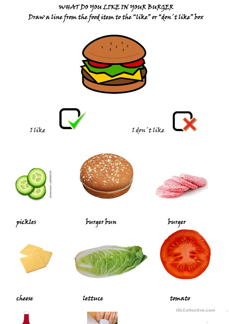 Build A Burger Like And Don T Like English Esl Worksheets For Distance Learning And Physical Classrooms