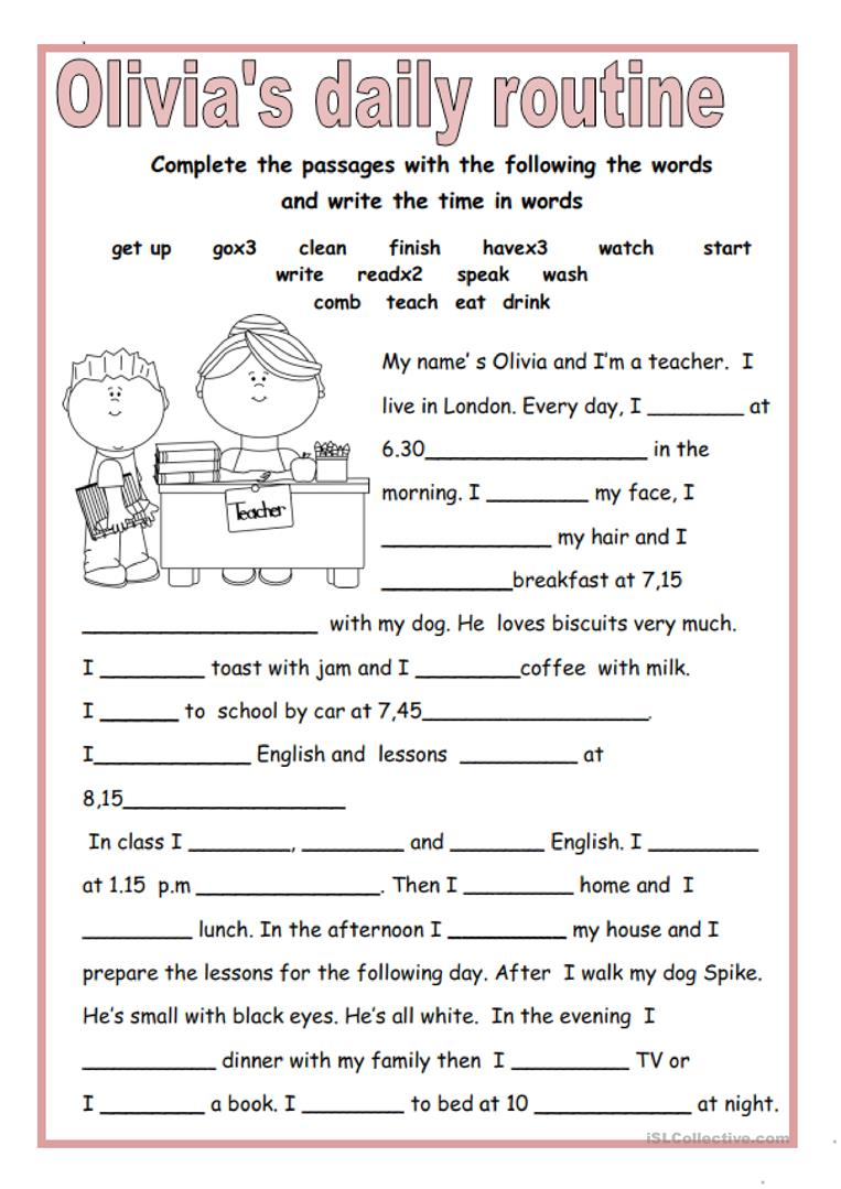 image relating to Daily Work Sheet identified as OLIVIAS Day by day Program - English ESL Worksheets