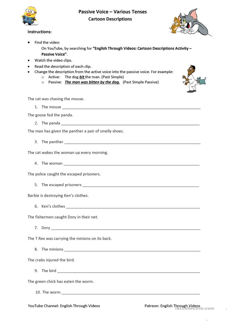 Passive Voice (Mixed Tenses) - Cartoon Descriptions worksheet - Free