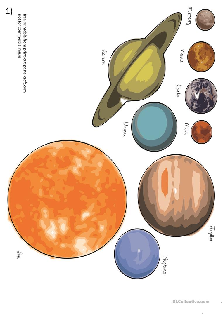 photograph about Printable Planets called Planets and sunshine approach - English ESL Worksheets