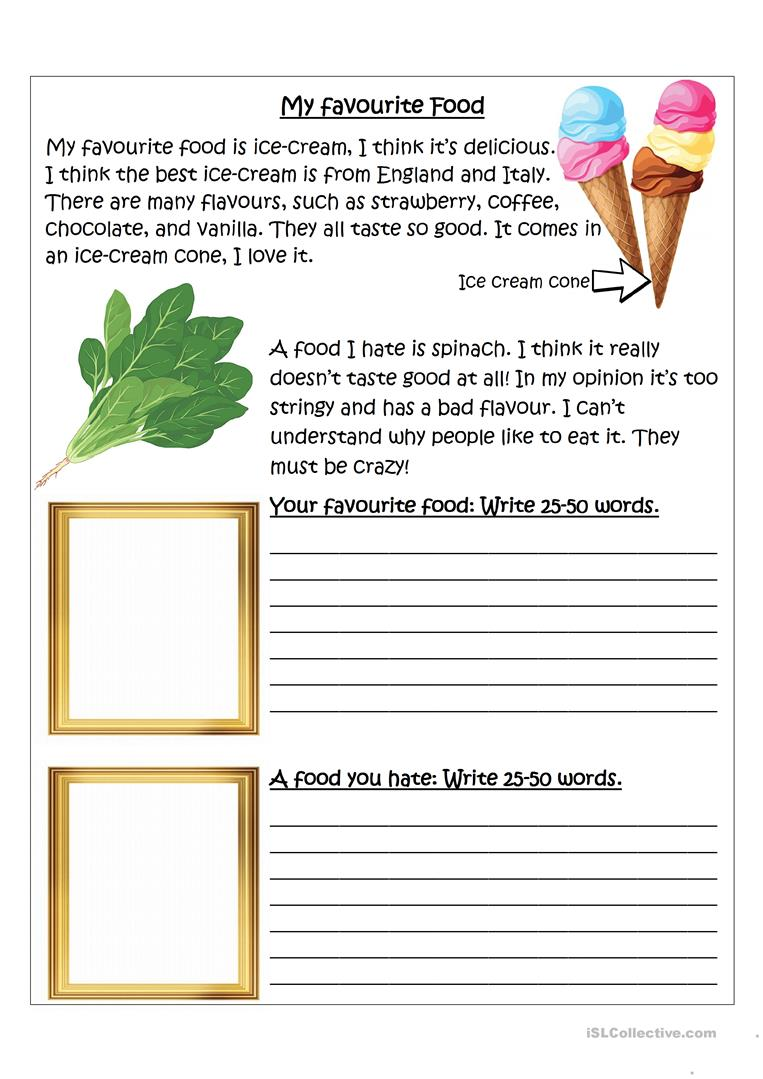 Writing - My favourite and least favourite food worksheet - Free ESL