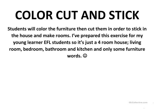 Make The Cut >> Color Cut And Stick Rooms In The House English Esl Worksheets