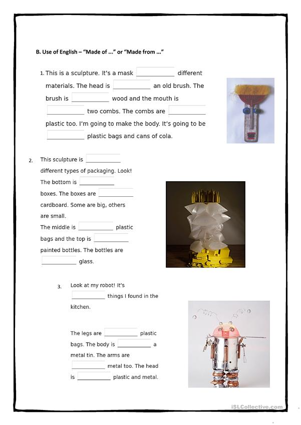 Recycling - Reusing - 4 pages Full Worksheet
