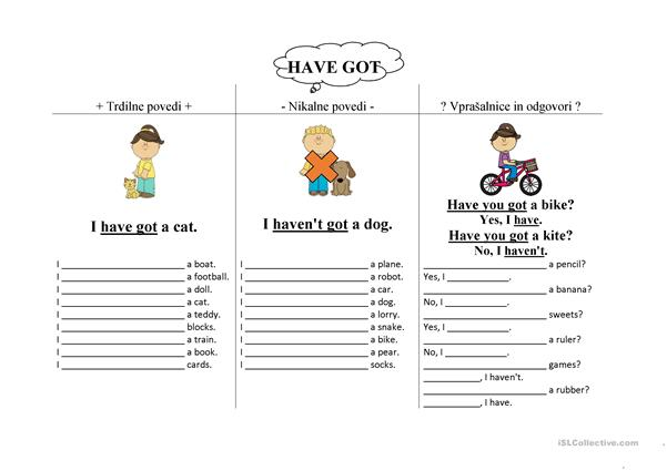 have got - writing practice worksheet