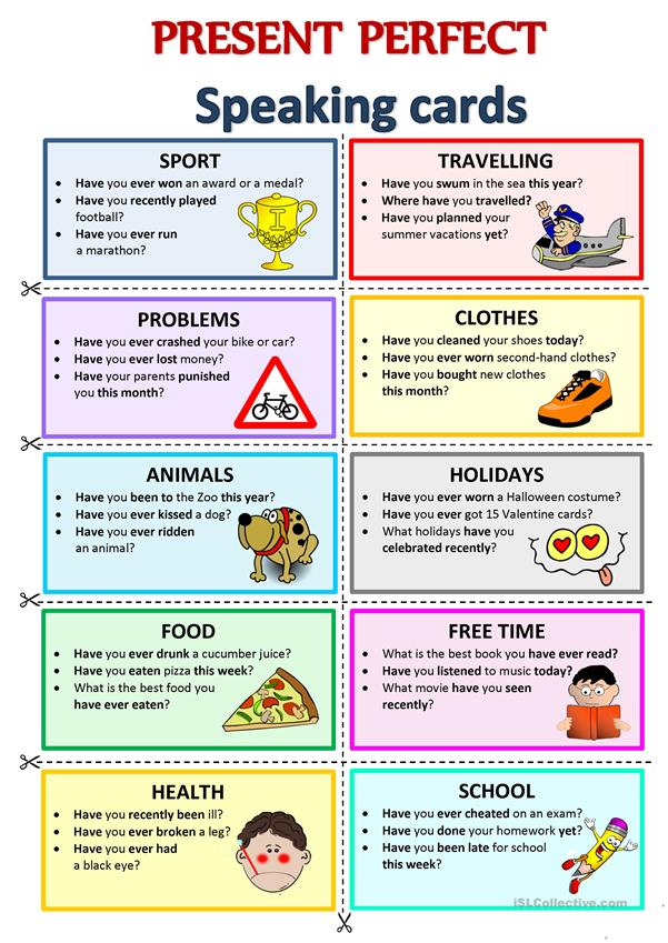 PRESENT PERFECT - Speaking Cards - English ESL Worksheets For Distance  Learning And Physical Classrooms
