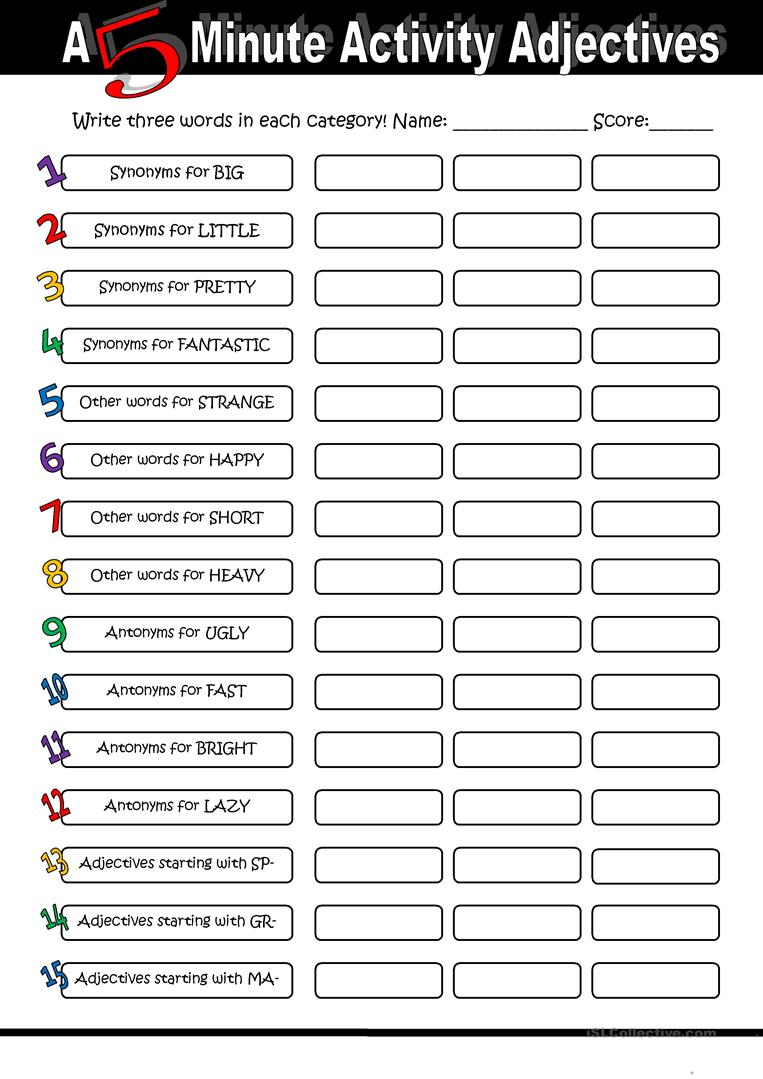 A 5 Minute Activity Adjectives - English ESL Worksheets