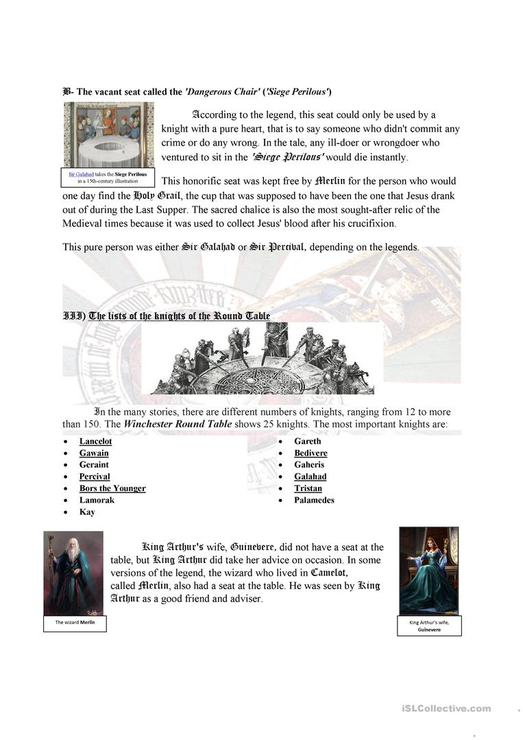 Camelot and the Knights of the Round Table worksheet - Free ESL