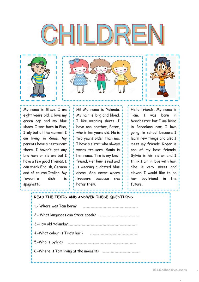 - CHILDREN - English ESL Worksheets For Distance Learning And