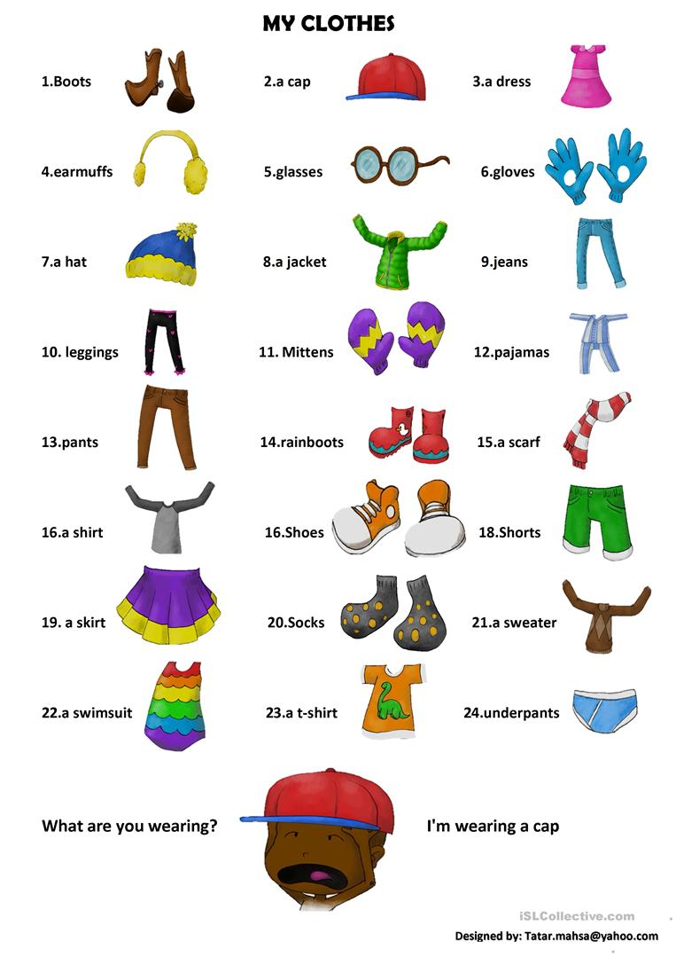 My Clothes English Esl Worksheets For