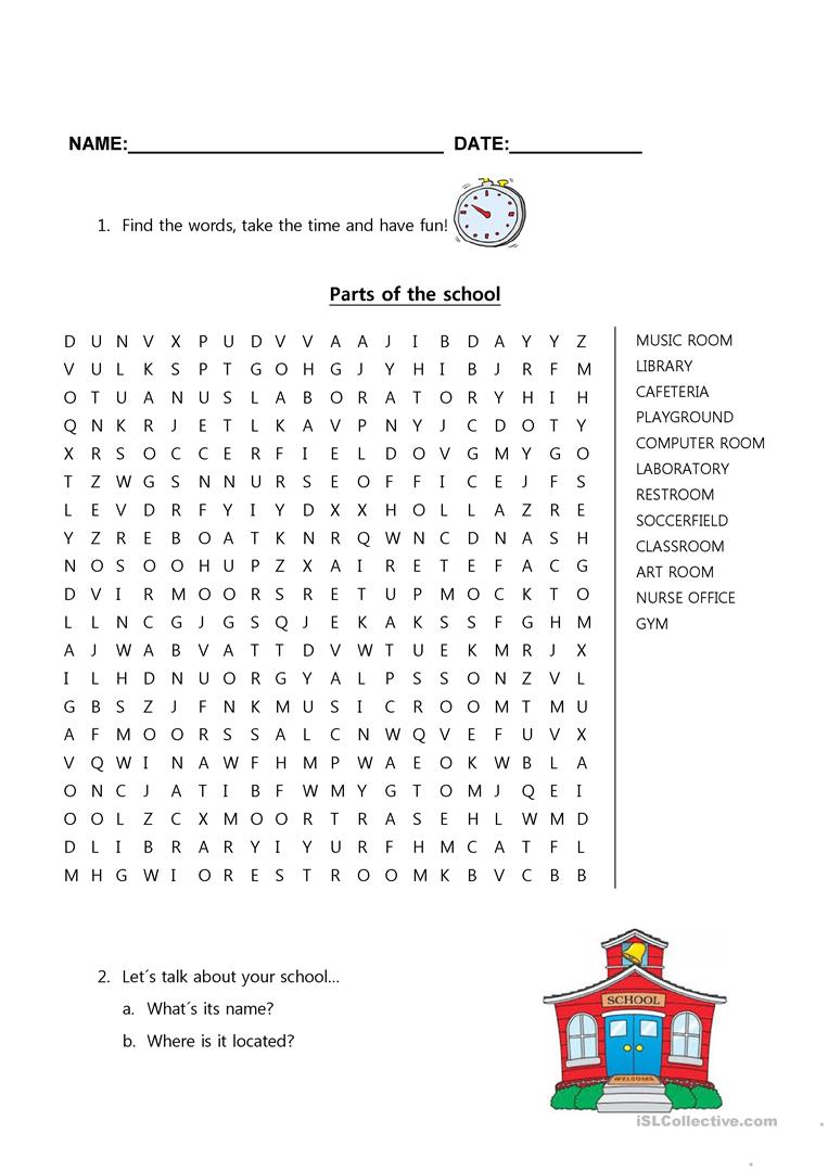 Parts of the school - English ESL Worksheets
