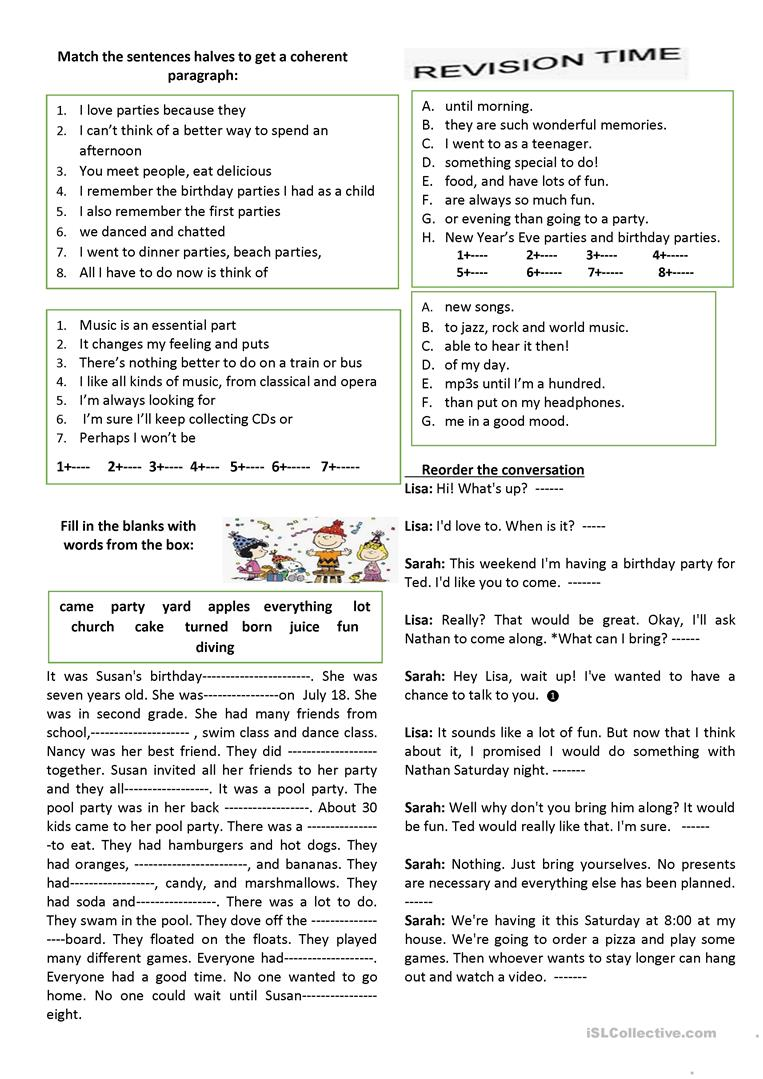 Party Entertainment English Esl Worksheets For Distance