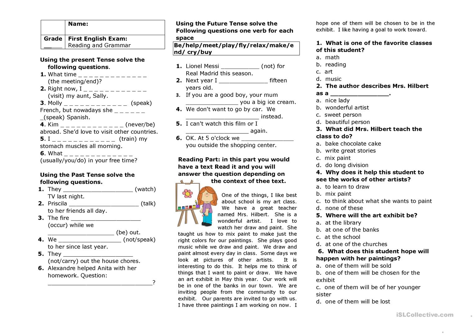 - Practicing Grammar And Reading - English ESL Worksheets For