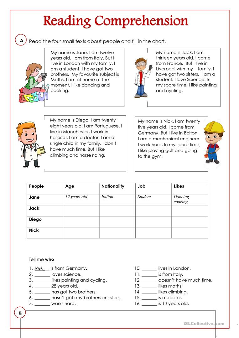 - Reading Comprehension - English ESL Worksheets For Distance